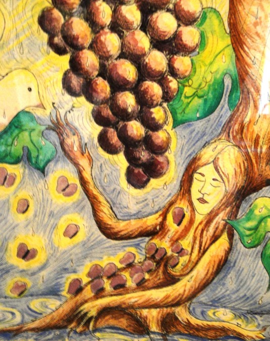 Fruits of Prayer, pen and ink with watercolor